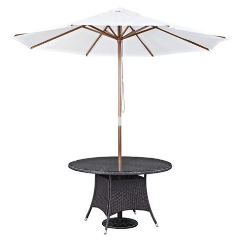 Convene Outdoor Patio Dining Table And Umbrella Espresso White Patio Table With Umbrella