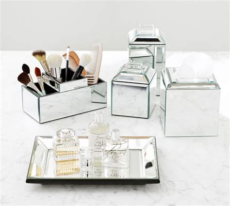 mirrored desk accessories mirrored bath accessories pottery barn