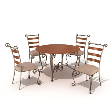 restaurant table and chairs 3d model cgtrader