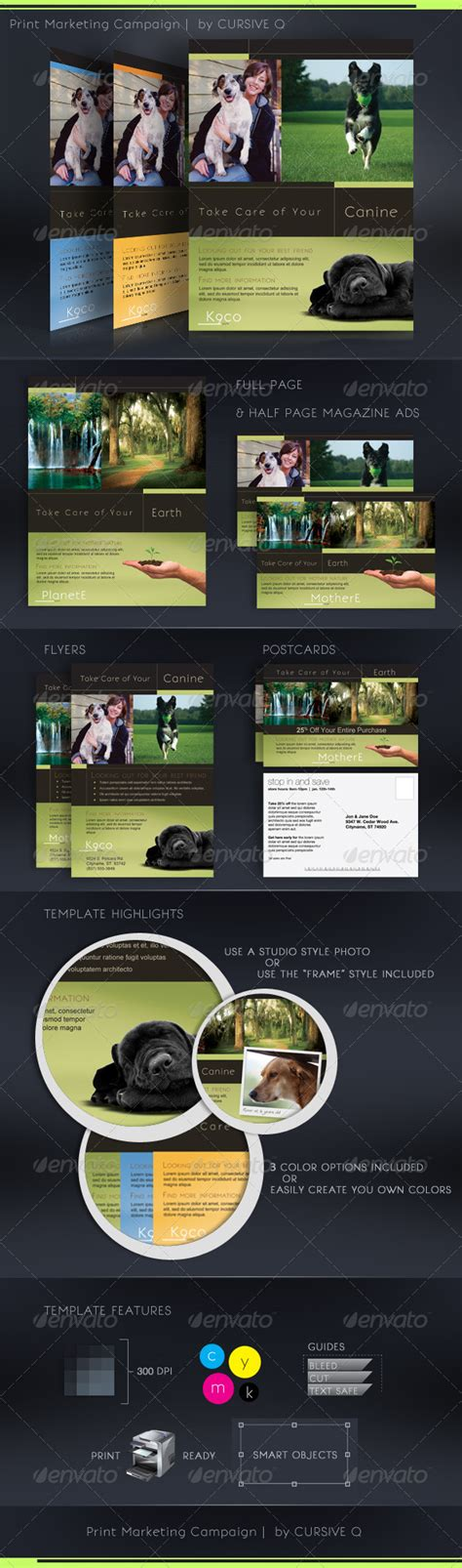 Print Marketing Caign Template Set Print Ad Templates Half Page Ad Template Photoshop