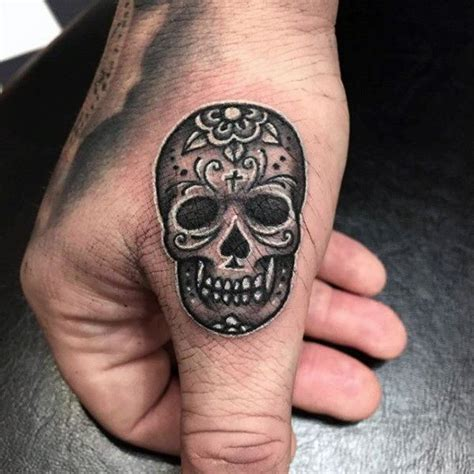 skull tattoo on finger tiny black day of the dead skull guys