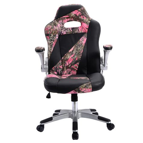 Pink Camo Chair - pu leather high back executive office desk task computer