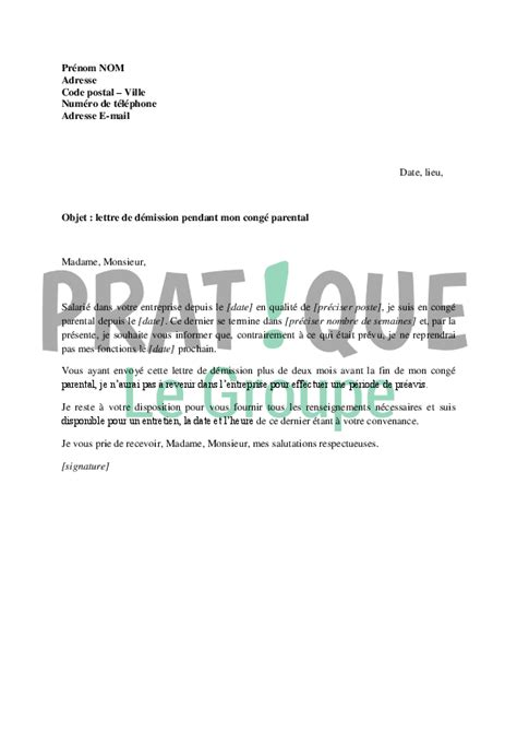 Modeles De Lettre Conge Parental Modele Lettre Preavis Conge Parental Document