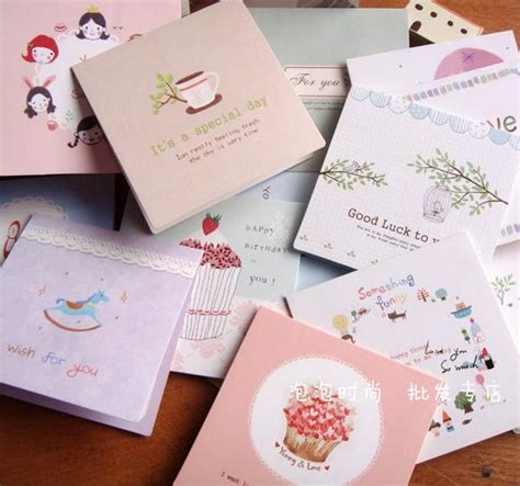 Small Gift Cards Wholesale - korean children s day greeting card blessing small fresh small gift card message card