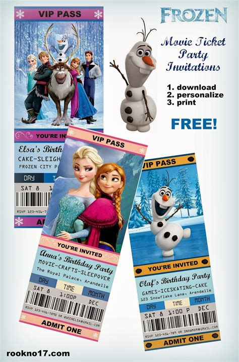printable free frozen invitations jennuine by rook no 17 movie ticket style frozen party