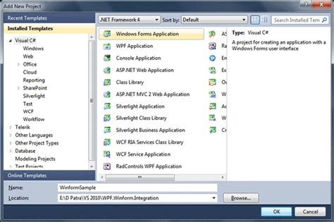 design winforms application integrating wpf in winforms in vs 2010