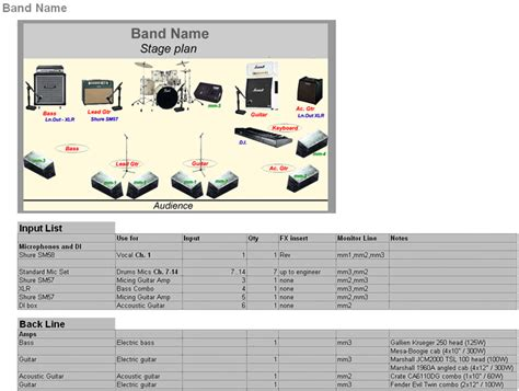 band template band technical rider template creator stage planning