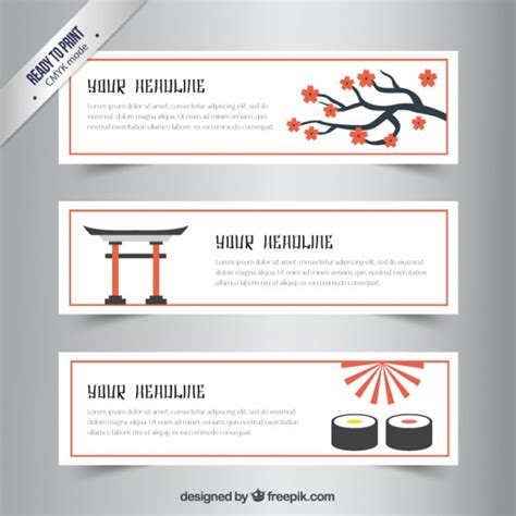 banner design japan japanese banners collection vector free download