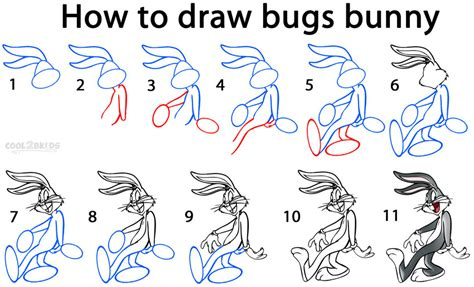 How To Draw Bugs Bunny Step By Step Easy | how to draw bugs bunny step by step pictures cool2bkids