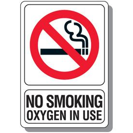no smoking sign use no smoking oxygen in use sign emedco