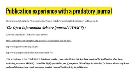 Acceptance Letter For Journal Publication Publication Experience With A Predatory Journal Acceptance Letter Journal Publication Letter