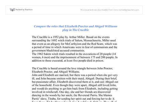 Abigail Essay by Abigail Williams The Crucible Essay Sncedirect Web Fc2