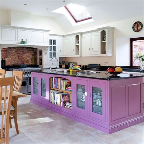 painted kitchen island ideas purple painted kitchen island colouful kitchen ideas