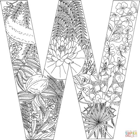 letter w with plants coloring page free printable