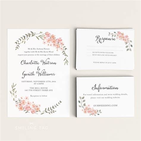 printable wedding invitation printable floral wedding