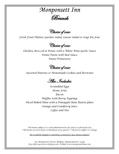 Monponsett Inn Brunch Menu For Brunch Buffet