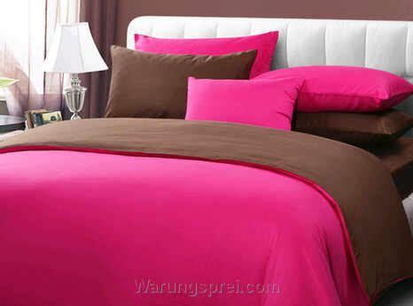 Sprei Katun 100x200 Tinggi 30cm Jaxine Motif Pink sprei polos pink coklat warungsprei