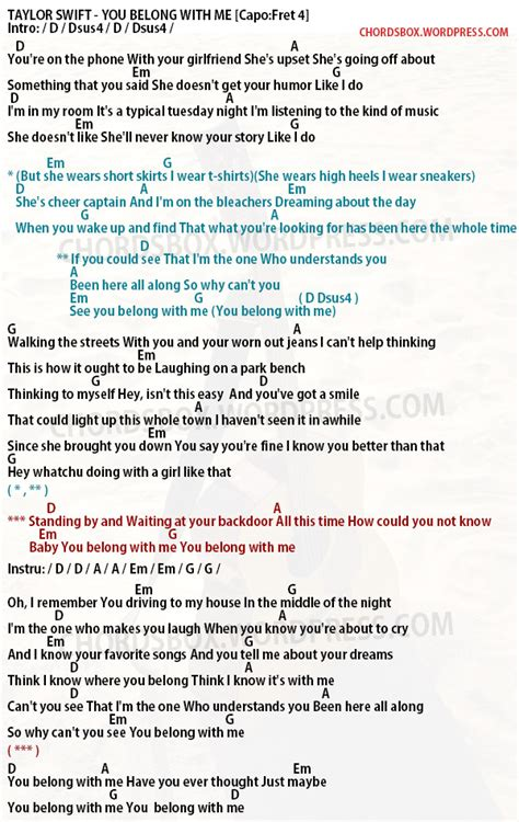 change by taylor swift chords chord you belong with me taylor swift chordsbox