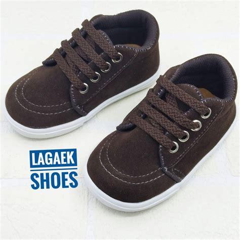 Sneaker Wanita Simple sepatu sneaker anak usia 1 2 3 4 tahun tali coklat tua