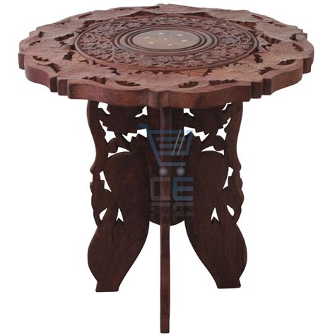 Wooden Side Table Small Side Table Wooden Coffee L End Brown Carved Indian Home 45cm Ebay