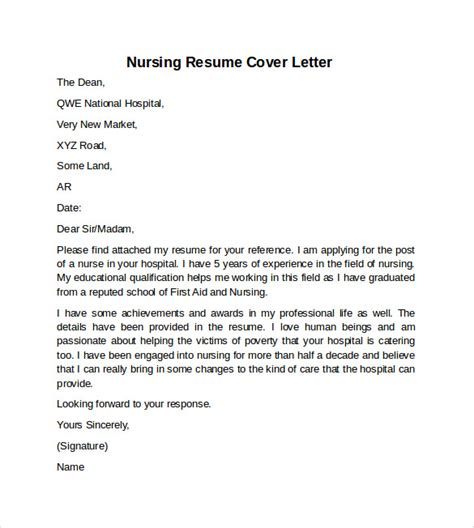 Nursing Resume Cover Letter Template Free Nursing Cover Letter Exle 10 Free Documents In Pdf Word