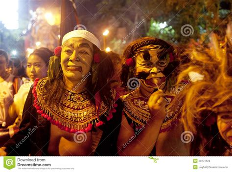 new year in ubud balinese new year celebrations editorial stock image
