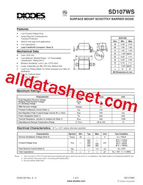 diodes inc bat54 7 f sd107ws 7 f 데이터시트 pdf diodes incorporated
