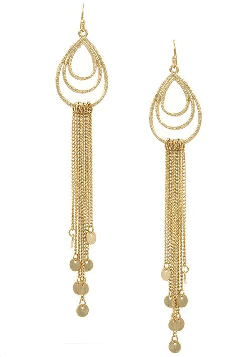 Drop Earring metal teardrop chain drop earrings