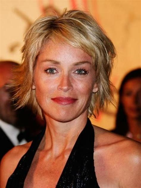pics of sharon stones hair cut only print out front and back sharon stone short hairstyle encouraging hair short