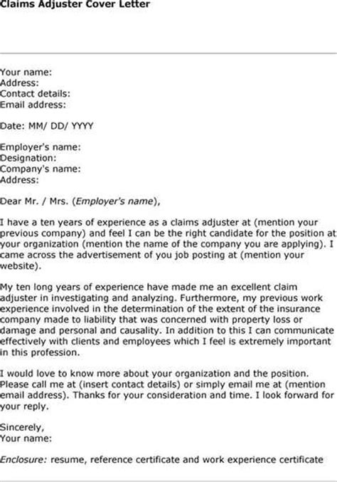 Insurance Adjuster Trainee Cover Letter by Exle Cover Letter For Claims Adjuster Trainee Cover