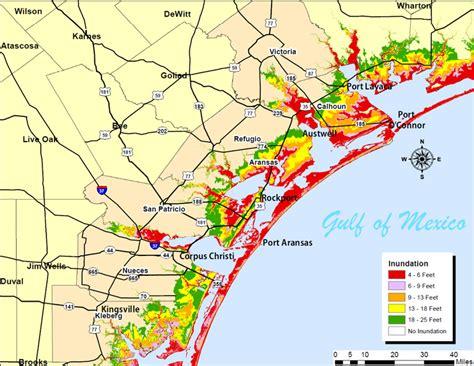 map of coastal texas surge maps coastal bend