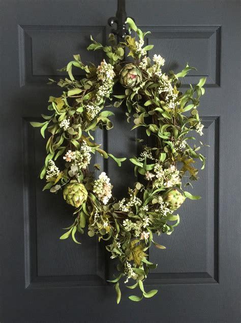 wreaths for front door oval artichoke wreath summer wreath front door wreaths