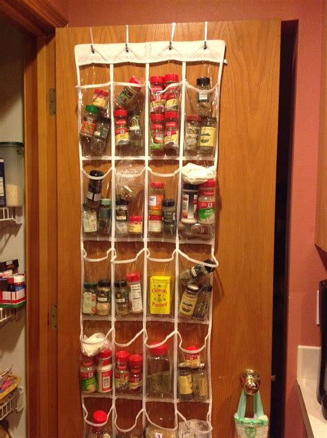 Pantry Door Hanging Spice Rack by Spice Rack Solution Hang Clear The Door Shoe Bag On