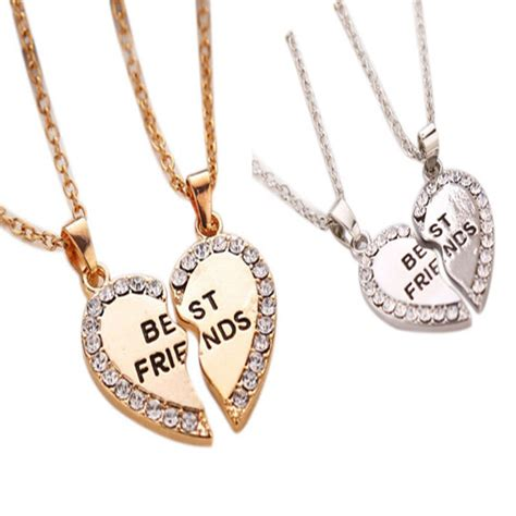 Best Metal For Jewelry Gold by Best Friend Gold Silver Tone Rhinestone 2 Pendants