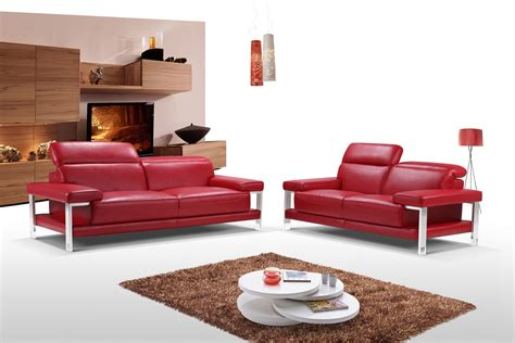 red living room sets chic fiery red two piece top grain leather living room set