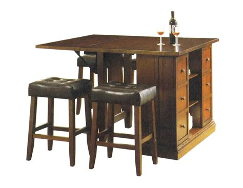 Counter Height Kitchen Island Table Kitchen Island Oak Finish Counter Height 5 Table Set By Acme 10232