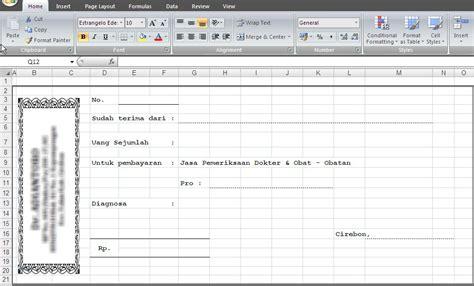 Contoh Kwitansi Pembayaran Excel by Format Kwitansi Dalam Bentuk Excel Baca31