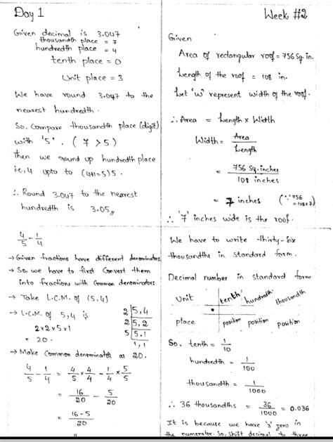 Math 4 Today Grade 5 Worksheets by Math 4 Today Worksheets Week 1 Math Best Free Printable