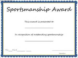 Sports Award Templates by Sports Sportsmanship Award Certificate Template Sle