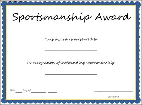 sports certificate templates sports sportsmanship award certificate template sle