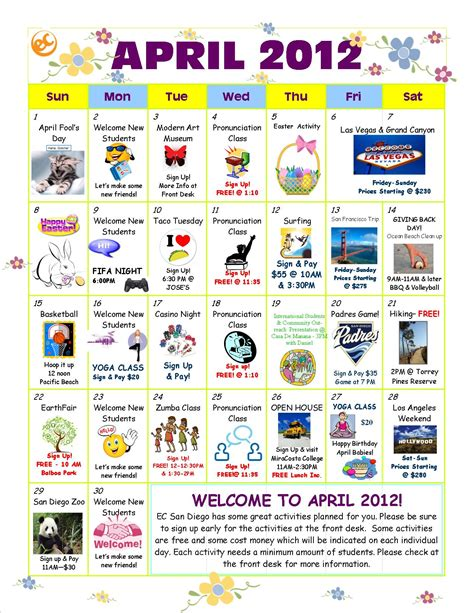 April 2012 Calendar April Activity Calendar Is Here Ec San Diego