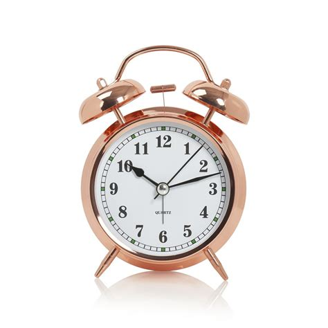 wilko bell alarm clock copper effect wilko