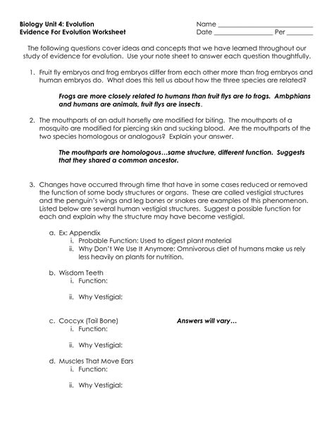 Evidence Of Evolution Worksheet Answers by 28 Evidence Of Evolution Worksheet Evidence For