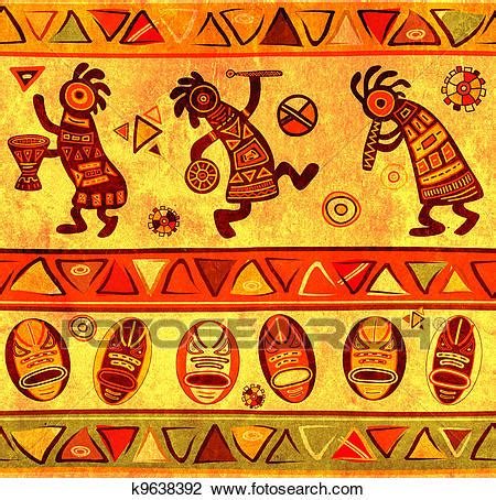 printable african art clip art of seamless background with african traditional