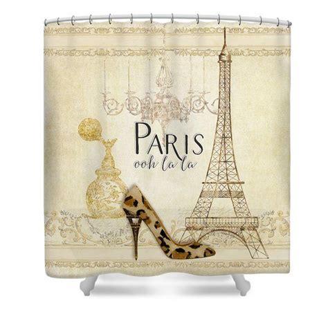 paris fabric shower curtain paris ooh la la fashion eiffel tower chandelier perfume