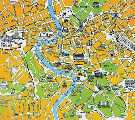 city map with attractions rome city tourist map rome mappery
