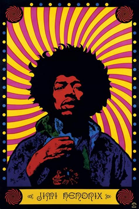 Vintage 60s Home Decor by Jimi Hendrix Psychedelic Poster