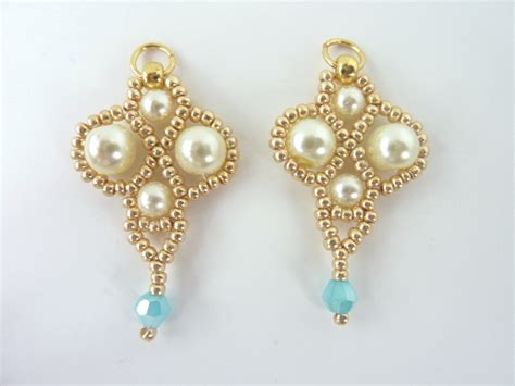 free beaded earring patterns free beading pattern for palace pearl earrings