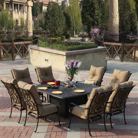 Patio Furniture Dining Shop Darlee Santa 9 Antique Bronze Aluminum Patio Dining Set At Lowes