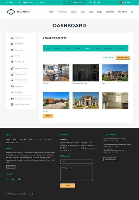 Realtyspace V2 1 2 Real Estate Html5 Template Dashboard Included By Codefactory47 Real Estate Dashboard Templates